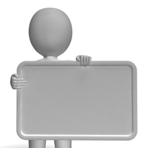 Blank White Sign With Copyspace Including 3d Character