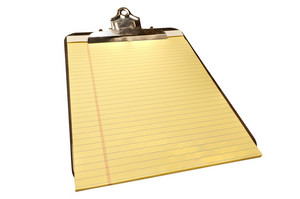 Blank Yellow Legal Pad on Old Metal Clipboard