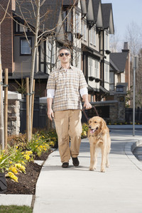 Blind man with seeing eye dog