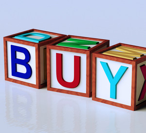 Blocks Spelling Buy As Symbol For Commerce And Purchasing