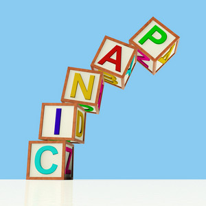 Blocks Spelling Panic Falling Over As Symbol For Emergency And Stress