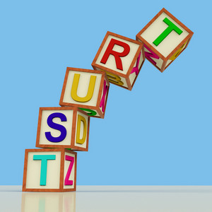Blocks Spelling Trust Falling Over As Symbol For Lack Of Confidence