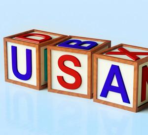 Blocks Spelling Usa As Symbol For  America And Patriotism