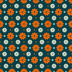Blue And Orange Flower Pattern