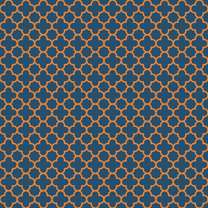 Blue And Orange Quatrefoil Pattern