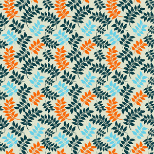 Blue And Orange Vines Pattern