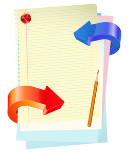 Blue And Red Glossy Arrows With Office Paper And Pencil. Vector Template.
