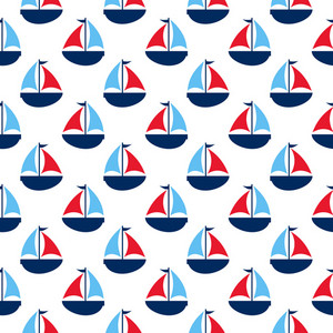 Blue And Red Nautical Sailboat Pattern
