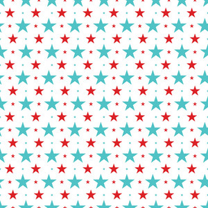 Blue And Red Stars Cat And Hat Pattern