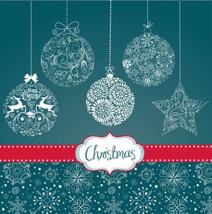 Blue And White Christmas Ornaments. Card Template