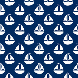 Blue And White Nautical Sailboat Pattern