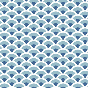Blue And White Scales Riverboat Pattern