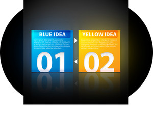 Blue And Yellow Square Banners With Arrows From One To The Other