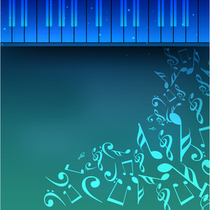 Blue Background With Musical Instrument And Notes Illustration
