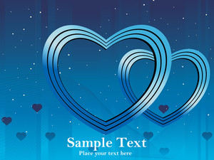 Blue Background With Two Heart Illustration