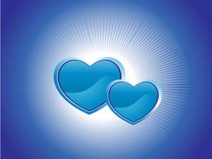 Blue Background With Two Heart