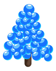 Blue Balls Christmas Tree