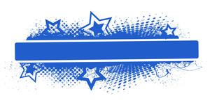 Blue Banner  Grunge Stars Vector