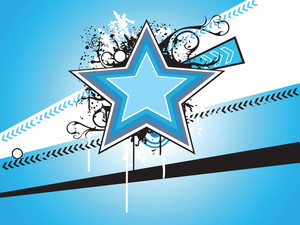 Blue Banner With Star