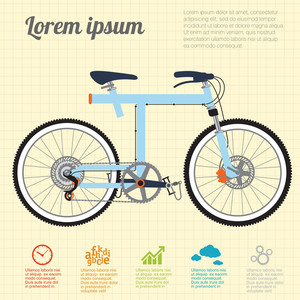 Blue Bicycle. Vector Template.