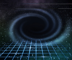 Blue Black Hole In Space Background