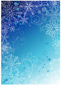 Fundo azul do Natal com flocos de neve