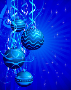 Blue Christmas Decoration. Vector Background.
