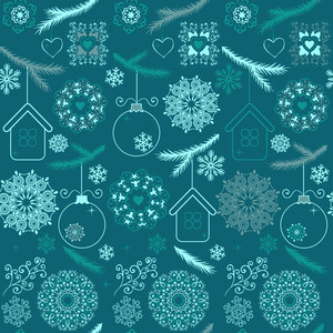 Blue Christmas Seamless Pattern With Snowflakes On White