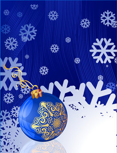 Blue Christmas Template With Blue And Gold Decorated Balloon And Snowflakes. Vector Background.