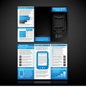 Blue-colored Brochure Template With Tablet Pc Illustration. Useful For Product Manuals