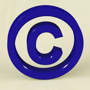 Blue Copyright Sign Representing Patent Protection