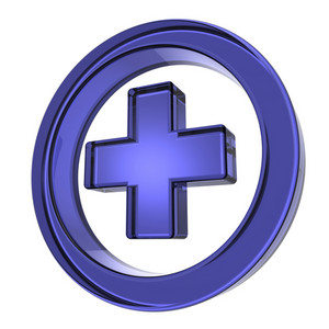 Blue Cross In The Circle Isolated On White