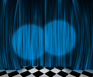 Blue Curtain Spotlight Stage Background