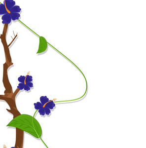 Blue Decorative Flowers Vector Branch