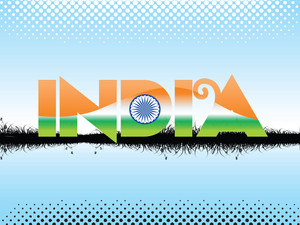 Blue Dotted Background With Flag Color In India