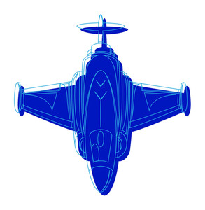 Blue Fighter Plane Drawing
