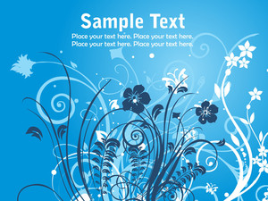 Blue Floral Design With Background