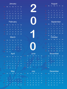 Blue Floral Pattern Calender Illustration