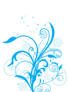 Blue Floral With White Background