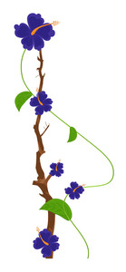 Blue Flowers Vector Branch Design