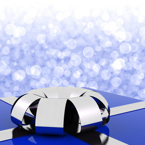 Blue Giftbox With Bokeh Background For Husbands Birthday