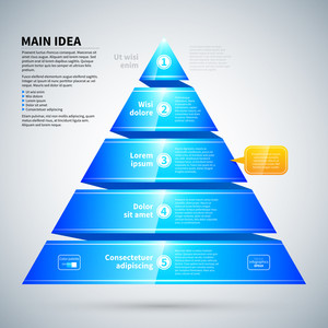 Blue Glossy Pyramid Chart. It's Useful For Infographics And Presentations.