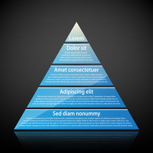 Blue Glossy Pyramid With Text On Each Level. Useful For Infographics