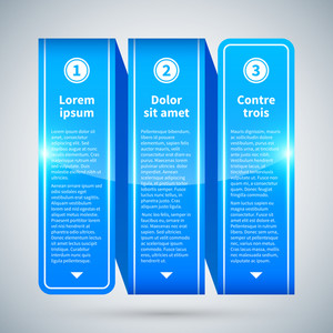 Blue Glossy Ribbon With Three Vertical Options.