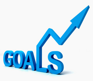 Blue Goals Word Shows Objectives Hope And Future