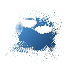 Blue Halftoned Grunge And Clouds - Vector Background