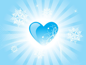 Blue Heart Scroll On Blue Background