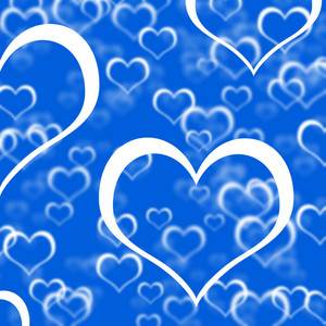 Blue Hearts Background Showing Romance Love And Valentines