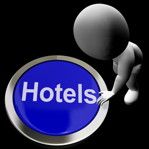 Blue Hotel Button For Travel And Room