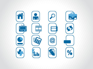 Blue Icons Set For Website
